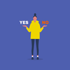 Yes or no. Decision making. Young female character answering a question. Flat editable vector illustration, clip art