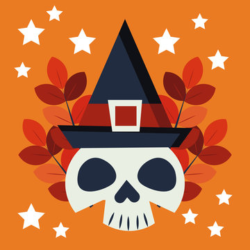 halloween skull with witch hat character