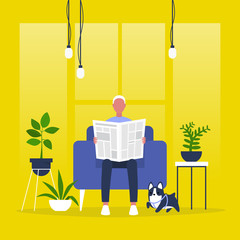 Young male character reading a newspaper. News. Digital vs analog. Lifestyle. Morning habits. Flat editable vector illustration, clip art