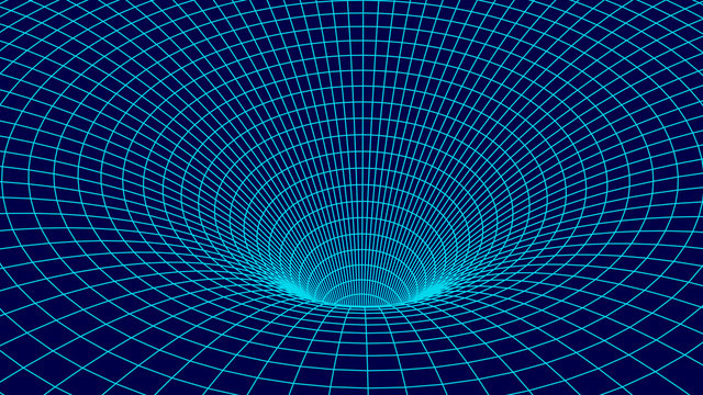 Tunnel or wormhole. Wireframe 3D surface tunnel grid.