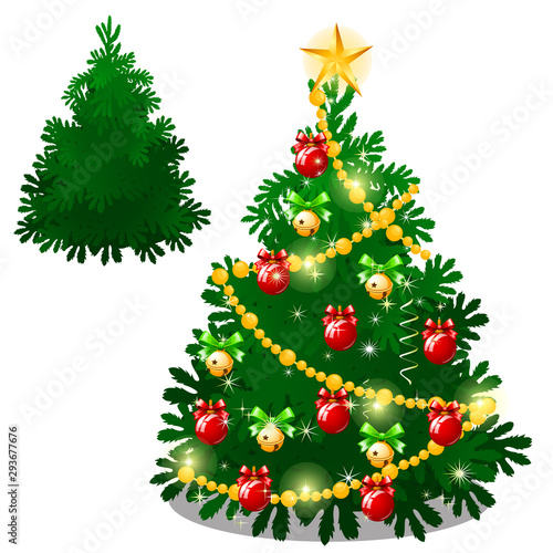 Set Of Empty And Brightly Decorated Christmas Tree With