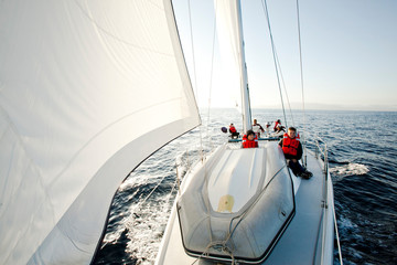 Group of people sailing the Channel Islands near Santa Barbara, California.