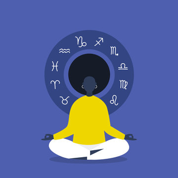 Meditation. Astrology. Zodiac signs. Flat editable vector illustration, clip art. Young black female character sitting in lotus position. Harmony