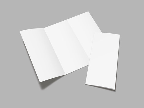 Blank  flyer tri fold mockup. Realistic Flyer, booklet  mock up on gray background.  Vector illustration.