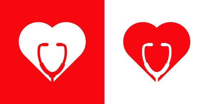 Logotipo con corazón con estetoscopio en espacio negativo en fondo blanco y fondo rojo