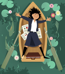 Business woman relaxing in a rowboat, taking a break from work, EPS 8 vector illustration