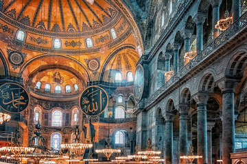 Inside the Hagia Sophia museum in Istanbul