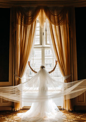 Bride with a long veil looking in the window