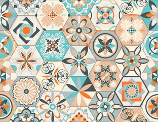 Acrylic Prints Moroccan Tiles Talavera pattern. Indian patchwork, Turkish ornament. Moroccan mosaic. Ceramic dishes, folk print. Spanish pottery. Antique Moroccan, Portuguese hexagonal tiles. Mediterranean seamless vector.