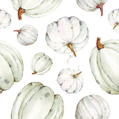 Beautiful seamless pumpkins pattern on isolated white background. Watercolor illustration. Hand drawing. It is perfect for thanksgiving cards or posters, halloween