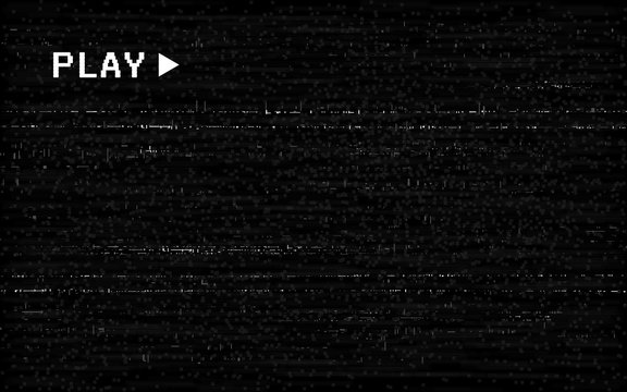 Glitch VHS effect. Old camera template. White horizontal lines on black background. Video rewind texture. No signal concept. Random abstract distortions. Vector illustration