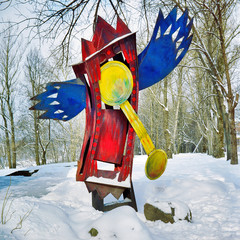 Sculpture of Winged Clock on February 21, 2009 in Vitebsk, Belarus. The winged clock appears in several paintings by Marc Chagall.
