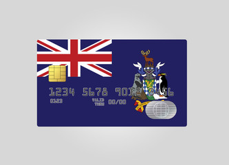 Credit card with country flag of Sauth Georgia and the South Sandwich Island