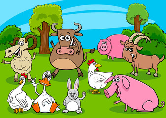 Fototapete - cartoon farm animals comic characters group