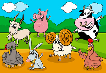 Fototapete - cartoon farm animals funny characters group