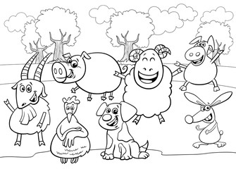 Fototapete - black and white cartoon farm animal characters group