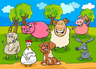 Fototapete - happy farm animals cartoon characters group