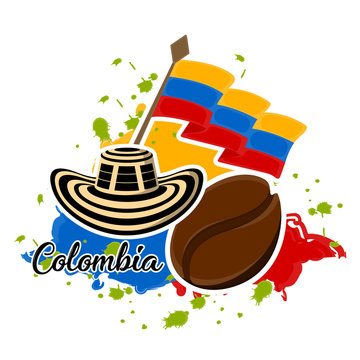 Flag of Colombia, coffee bean and sombrero vueltiao. Representative image of colombia - Vector