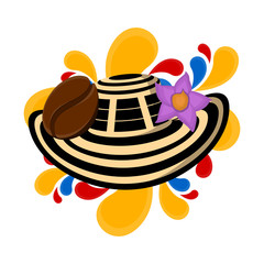 Sombrero vueltiao with coffee bena and flower. Representative image of colombia - Vector