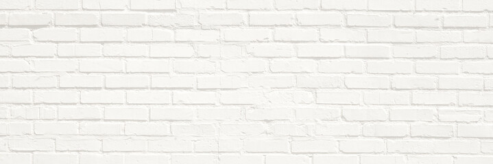 Foto op Textielframe Baksteen muur White brick wall background. Neutral texture of a flat brick wall close-up.