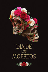 """Dia de los Muertos"" (day of the dead) poster. Mexican sugar skull with floral decoration on black background. Holiday banner, party flyer, greeting card. Stylized drawing oil.  illustration."