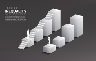 Businessman and businesswoman move on growing graph and the only man with the stair.Concept of gender inequality in business and obstacle in woman career path