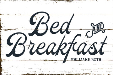 Vintage Farmhouse Bed and Breakfast Sign with Shiplap Design