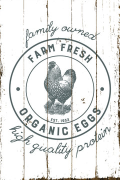 Vintage Farmhouse Organic Eggs Sign with Shiplap Design