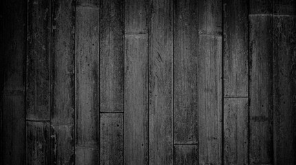 Rustic black and white vintage textured wood bamboo background with rough grain. Vertical parallel boards. Wall mural