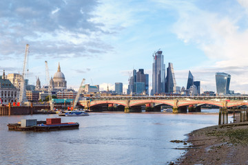 London at sunset with St Paul Cathedral, Blackfriars Bridge and the City