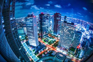 Spoed Foto op Canvas Tokio 東京都庁舎の展望台から見える東京の夜景