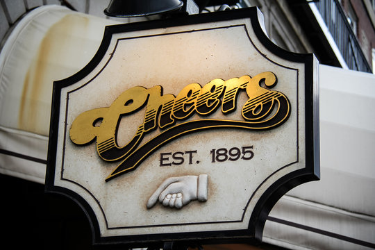 Sign in front of Cheers, a bar and popular tourist attraction in Boston, Massachusetts. The basis for the popular television series.