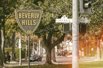 The iconic Beverly Hills sign marking the border of the famous affluent neighborhood near Los Angeles, California.