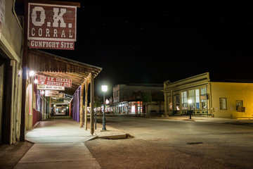 O.K. Corral and Allen Street in Tombstone, Arizona. Shot at night with long exposure.