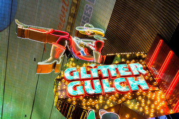Girls of Glitter Gulch sign, a strip club on Fremont Street in downtown Las Vegas, Nevada.