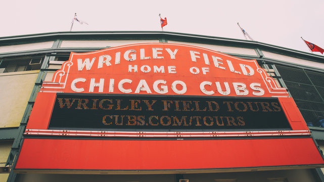 The marquee sign for Wrigley Field in Chicago, Illinois.