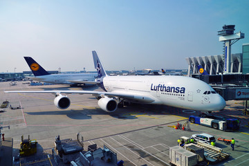 FRANKFURT, GERMANY -14 APR 2019- View of an Airbus A380 airplane from Lufthansa (LH) at the Frankfurt Airport (FRA), the busiest airport in Germany and a major hub for the German airline.