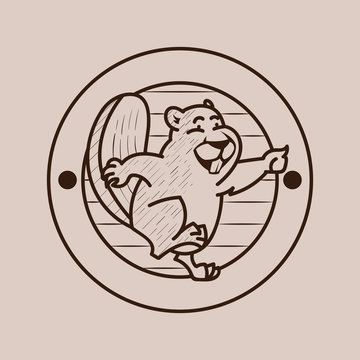 beaver vintage logo badge style - Beaver icon. Collection of quality vintage emblems for various businesses. Premium retro vintage americana style graphic symbols. Beaver Vector illustration.