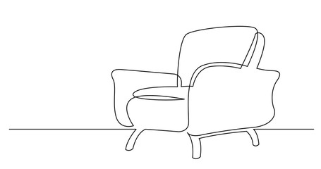 Fototapeta continuous line drawing of spacious modern armchair obraz