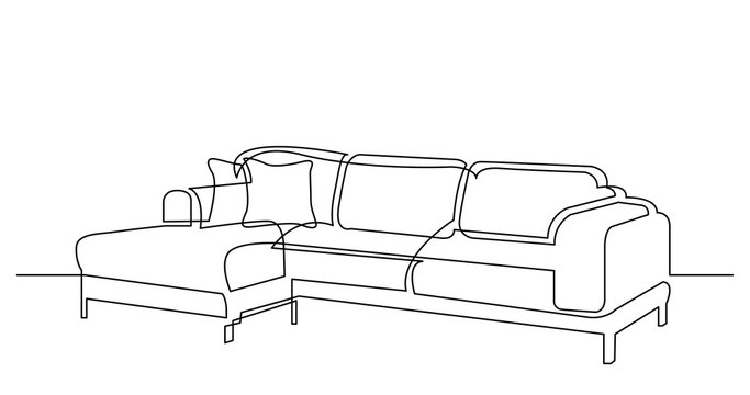 continuous line drawing of large modern sectional sofa with cushions