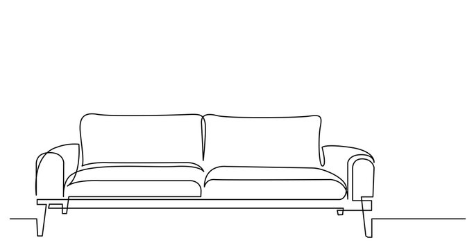 continuous line drawing of modern style sofa