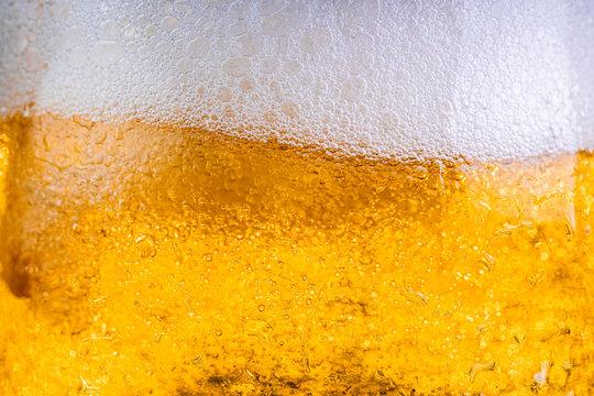 Beer glass closeup macro