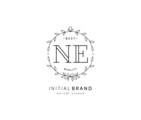 N E NE Beauty vector initial logo, handwriting logo of initial signature, wedding, fashion, jewerly, boutique, floral and botanical with creative template for any company or business.