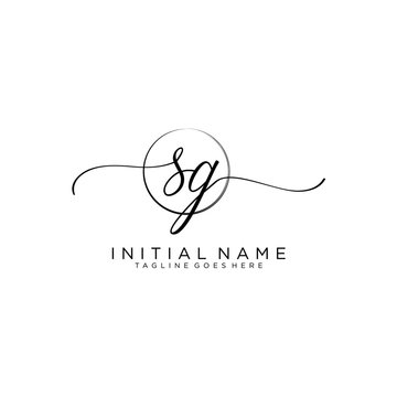 SG Initial handwriting logo with circle template vector.