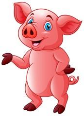 Cartoon very cute piggy illustration vector