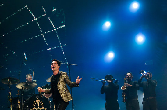 Brendon Urie, the singer of the band Panic! at the Disco, performs at the Rock in Rio Music Festival in Rio de Janeiro