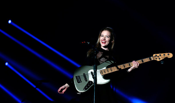 Nicole Row, bass player of the band Panic! at the Disco, performs at the Rock in Rio Music Festival in Rio de Janeiro