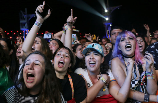 Fans of the band Panic! at the Disco, react at the Rock in Rio Music Festival in Rio de Janeiro