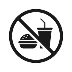 No food no drinks sign. High quality prohibition sign isolated on white. City public signs. Monochrome, one color, in one paint, black and white.