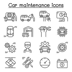 Car service & maintenance icon set in thin line style